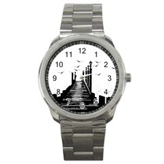 The Pier The Seagulls Sea Graphics Sport Metal Watch by Amaryn4rt