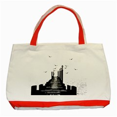 The Pier The Seagulls Sea Graphics Classic Tote Bag (red) by Amaryn4rt