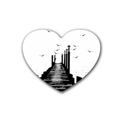 The Pier The Seagulls Sea Graphics Rubber Coaster (heart)  by Amaryn4rt