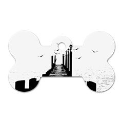 The Pier The Seagulls Sea Graphics Dog Tag Bone (two Sides) by Amaryn4rt