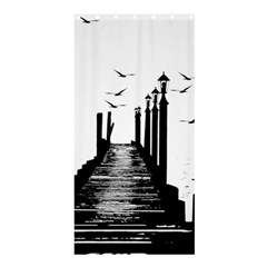 The Pier The Seagulls Sea Graphics Shower Curtain 36  X 72  (stall)  by Amaryn4rt