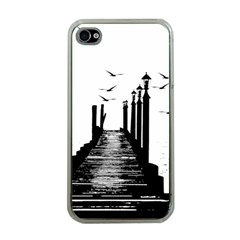 The Pier The Seagulls Sea Graphics Apple Iphone 4 Case (clear) by Amaryn4rt