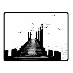 The Pier The Seagulls Sea Graphics Double Sided Fleece Blanket (small)  by Amaryn4rt