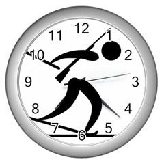 Biathlon Pictogram Wall Clocks (silver)  by abbeyz71