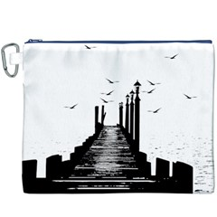 The Pier The Seagulls Sea Graphics Canvas Cosmetic Bag (XXXL) by Amaryn4rt