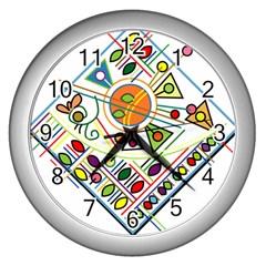 Vector Icon Symbol Sign Design Wall Clocks (silver)  by Amaryn4rt