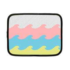 Wave Waves Pink Yellow Blue Netbook Case (small)  by Jojostore