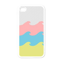Wave Waves Pink Yellow Blue Apple Iphone 4 Case (white) by Jojostore