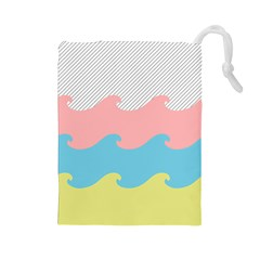 Wave Waves Pink Yellow Blue Drawstring Pouches (large)  by Jojostore