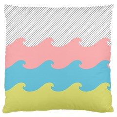 Wave Waves Pink Yellow Blue Standard Flano Cushion Case (two Sides) by Jojostore