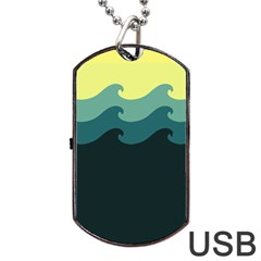 Chevron Wave Water Sea Blue Yellow Dog Tag Usb Flash (two Sides) by Jojostore