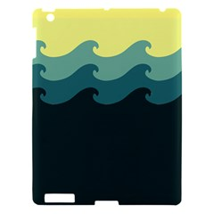 Chevron Wave Water Sea Blue Yellow Apple Ipad 3/4 Hardshell Case by Jojostore