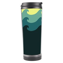 Chevron Wave Water Sea Blue Yellow Travel Tumbler by Jojostore