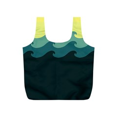 Chevron Wave Water Sea Blue Yellow Full Print Recycle Bags (s)  by Jojostore