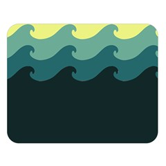 Chevron Wave Water Sea Blue Yellow Double Sided Flano Blanket (Large)  by Jojostore