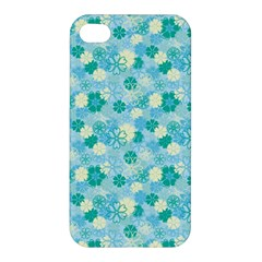 Blue Floral Flower Apple Iphone 4/4s Premium Hardshell Case by Jojostore