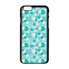 Blue Floral Flower Apple Iphone 6/6s Black Enamel Case by Jojostore