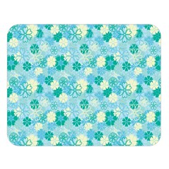Blue Floral Flower Double Sided Flano Blanket (large)  by Jojostore