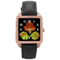 Autumn Beauty Rose Gold Leather Watch  by Nexatart