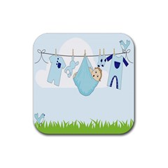 Baby Boy Clothes Line Rubber Coaster (square)  by Nexatart