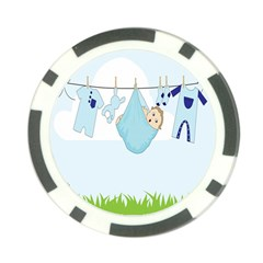 Baby Boy Clothes Line Poker Chip Card Guard (10 Pack) by Nexatart