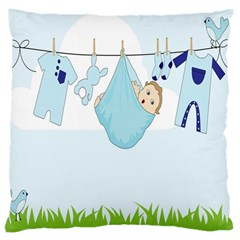 Baby Boy Clothes Line Large Cushion Case (one Side)