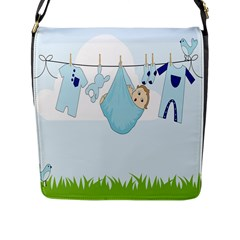 Baby Boy Clothes Line Flap Messenger Bag (l)  by Nexatart