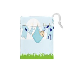 Baby Boy Clothes Line Drawstring Pouches (small)  by Nexatart