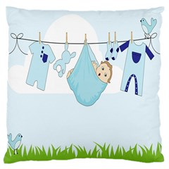 Baby Boy Clothes Line Large Flano Cushion Case (one Side)