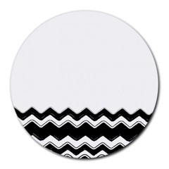 Chevrons Black Pattern Background Round Mousepads