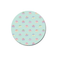 Butterfly Pastel Insect Green Magnet 3  (round) by Nexatart