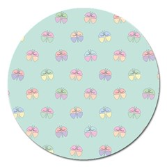 Butterfly Pastel Insect Green Magnet 5  (round) by Nexatart