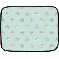 Butterfly Pastel Insect Green Fleece Blanket (mini) by Nexatart