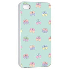 Butterfly Pastel Insect Green Apple Iphone 4/4s Seamless Case (white) by Nexatart