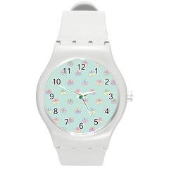 Butterfly Pastel Insect Green Round Plastic Sport Watch (m) by Nexatart
