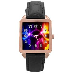 Circle Color Rose Gold Leather Watch  by Jojostore