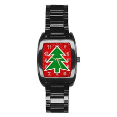 Christmas Tree Stainless Steel Barrel Watch by Nexatart