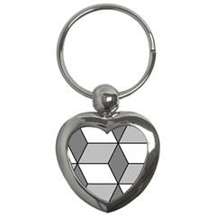 Diamond Cubes Gray Key Chains (heart)  by Jojostore