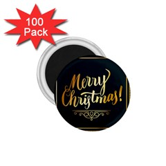 Christmas Gold Black Frame Noble 1 75  Magnets (100 Pack)  by Nexatart