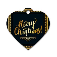 Christmas Gold Black Frame Noble Dog Tag Heart (one Side) by Nexatart