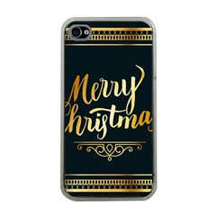 Christmas Gold Black Frame Noble Apple Iphone 4 Case (clear)