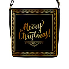 Christmas Gold Black Frame Noble Flap Messenger Bag (l)  by Nexatart
