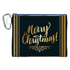 Christmas Gold Black Frame Noble Canvas Cosmetic Bag (xxl) by Nexatart