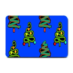 Christmas Trees Small Doormat  by Nexatart