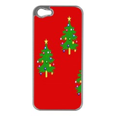 Christmas Trees Apple Iphone 5 Case (silver)