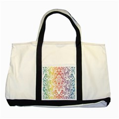 Cool Flower Rainbow Blue Purple Red Orange Yellow Green Two Tone Tote Bag by Jojostore