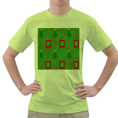 Christmas Trees And Boxes Background Green T Shirt