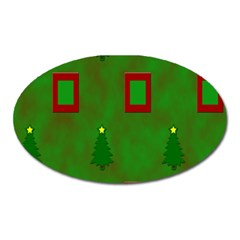 Christmas Trees And Boxes Background Oval Magnet by Nexatart