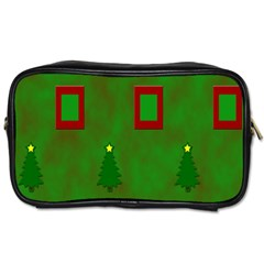 Christmas Trees And Boxes Background Toiletries Bags 2 Side by Nexatart