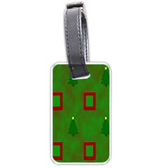 Christmas Trees And Boxes Background Luggage Tags (one Side)  by Nexatart